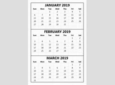 Download Printable January February March 2019 November