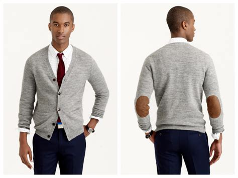 Mens Shawl Collar Cardigan With Elbow Patches
