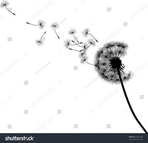 Vector Silhouette Graphic Illustration Depicting Dandelion