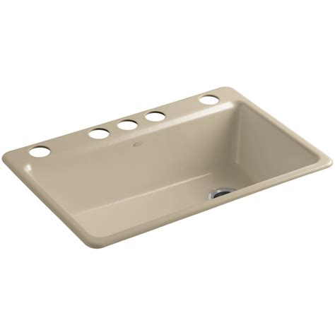 shop kohler riverby single basin undermount cast iron kitchen sink at lowes