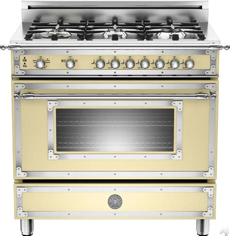 bertazzoni her366gas 36 quot traditional style gas range with 6 sealed brass burners 4 4 cu ft