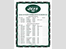 Printable 20182019 New York Jets Schedule
