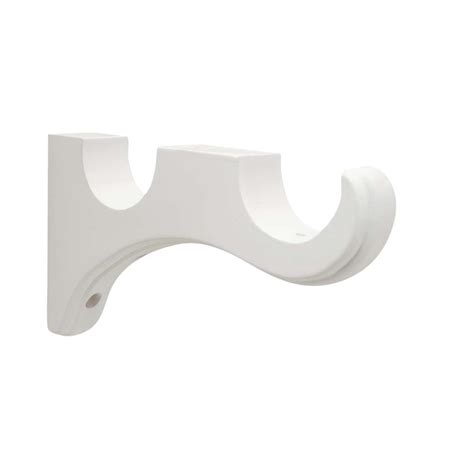 shop allen roth 2 pack white wood curtain rod brackets