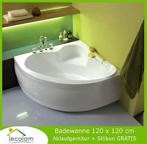 Badewanne 120 Cm : badewanne wanne eckwanne eckbadewanne 120 x 120 cm sch rze wannentr ger ablauf ebay ~ Markanthonyermac.com Haus und Dekorationen