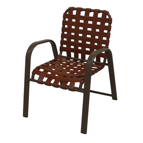 marco island brownstone commercial grade aluminum patio dining chair with saddle vinyl cross