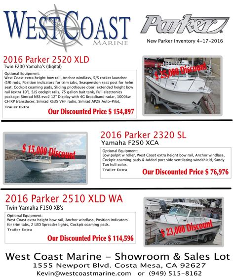 Parker Boats For Sale West Coast by New Parker Boats At West Coast Marine Bloodydecks