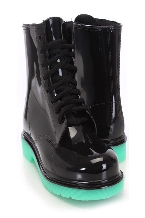 Rubber Boot With Laces by Black Lace Up Jelly Boots Rubber Black Laces Black And