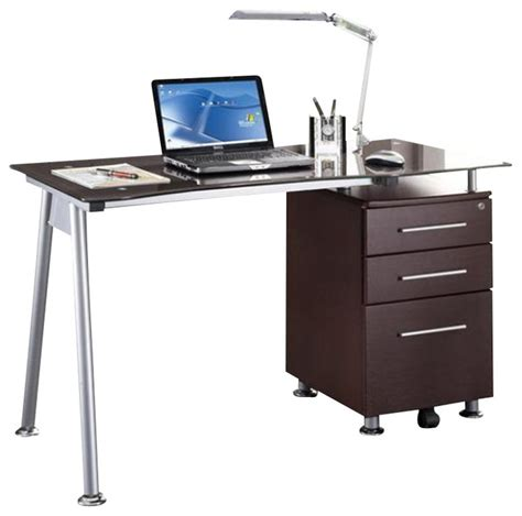 techni mobili tempered glass top computer desk in chocolate modern desks and hutches by cymax