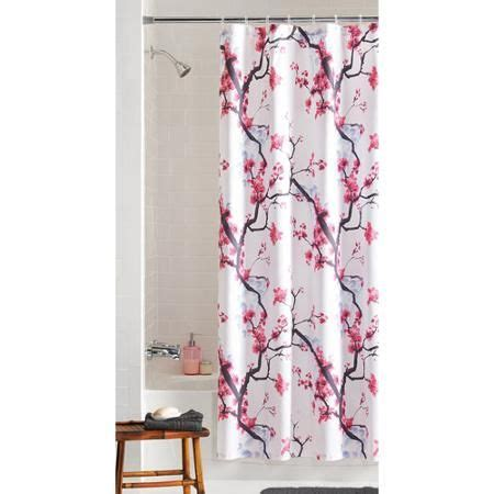 mainstays pink blossom fabric shower curtain cherries