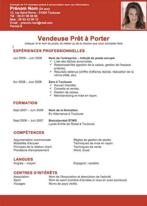 cv vendeuse le dif en questions