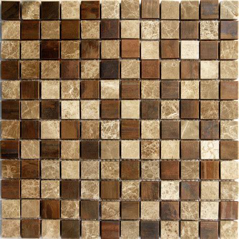 Sample Emperor Marble Copper Metal Blends Mosaic Tile