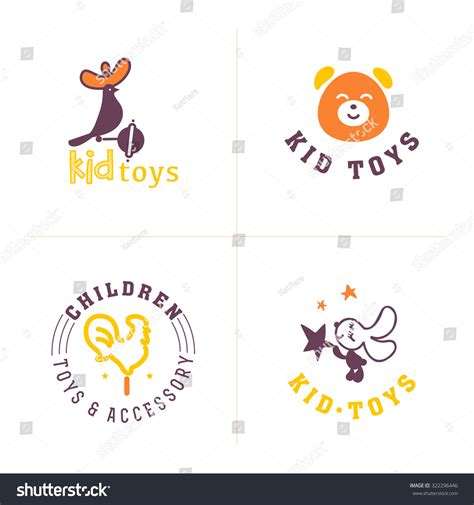 Hand Drawn Collection Baby Logo Kids Stock Illustration
