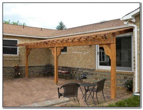 amazing wood pergola attached to house garden landscape