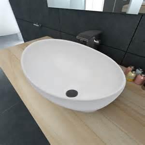 la boutique en ligne luxueuse vasque 224 poser en c 233 ramique ovale blanche 40 x 33 cm vidaxl fr