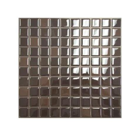 smart tiles 9 85 in x 9 85 in mosaic decorative wall tile in brown sm1009 1 the home depot