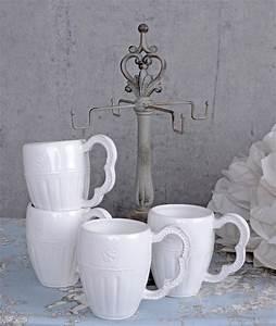 Shabby Chic Geschirr : kaffeebecher 4 st ck tassen weiss kaffeetassen shabby chic geschirr tassenbaum ebay ~ Markanthonyermac.com Haus und Dekorationen