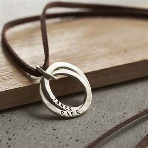 Personalised Men's Silver Interlinking Hoops Necklace ...