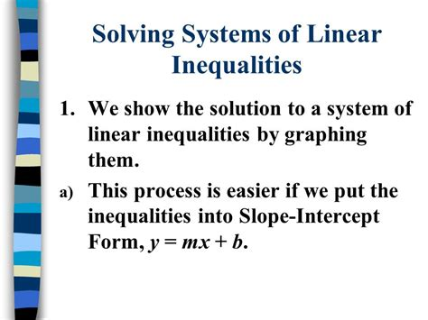 Systems Of Linear Inequalities  Ppt Video Online Download