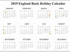Free Download Bank Holidays Calendar 2019 In England