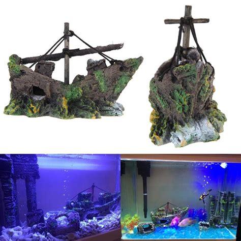 fish tank decoration cave decor sailing boat shipwreck aquarium sunk ship free shipping ptsp in