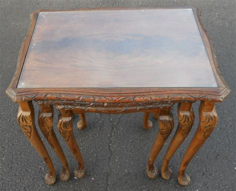 Nest Of Three Mahogany Glass Top Coffee Tables