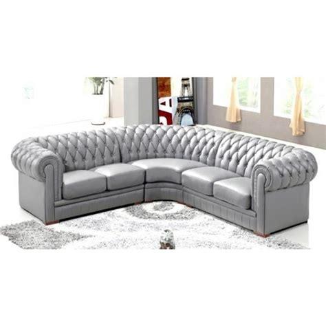 canap 201 d angle capitonn 201 cuir chesterfield gris achat vente canap 233 sofa divan cdiscount