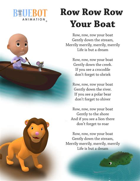 Round Your Boat by Row Row Row Your Boat Nursery Rhyme Lyrics Free Printable
