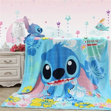 disney lilo stitch plush soft silky flannel blanket throw bedding 79 quot x59 quot ebay