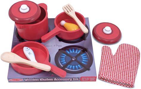 Melissa & Doug Deluxe Wooden Kitchen Accessory Set-pots