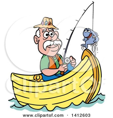 Cartoon Man In A Boat by Cartoon Of A Male Fish Chasing A Female Worm On A Hook
