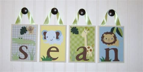 Home Decor 44021 : Personalized Name Nursery Wood Hanging Letters Zoofari