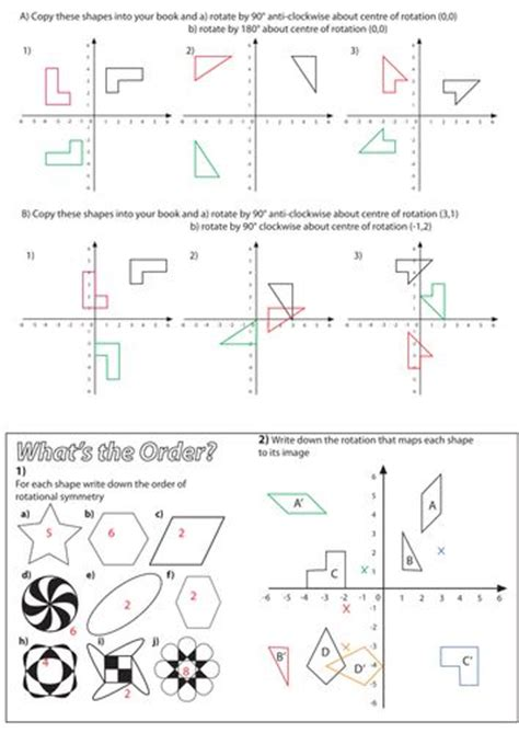 Maths Rotation Worksheets Ks2  Translation Worksheets By Funky Blues Teaching Resources