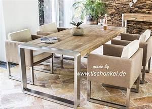 Esstisch Helles Holz : esstisch aus recyceltem holz mit edelstahl der tischonkel ~ Markanthonyermac.com Haus und Dekorationen