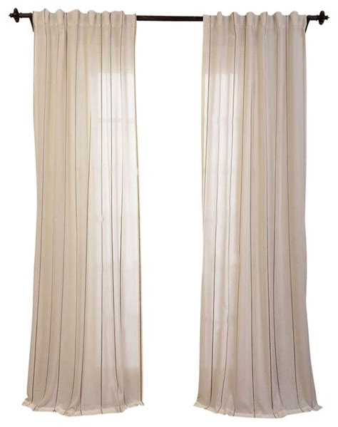 aruba gold striped linen sheer curtain transitional