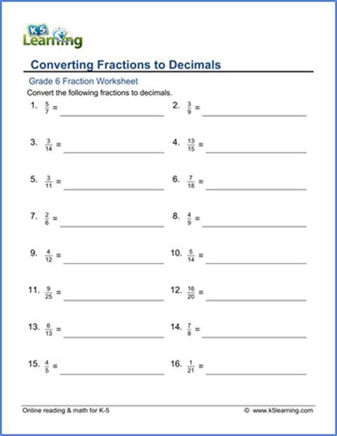 Grade 6 Fractions Vs Decimals Worksheets  Free & Printable  K5 Learning