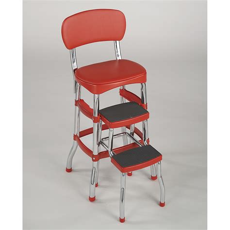 cosco home and office products 11120red1e retro counter chair step stool