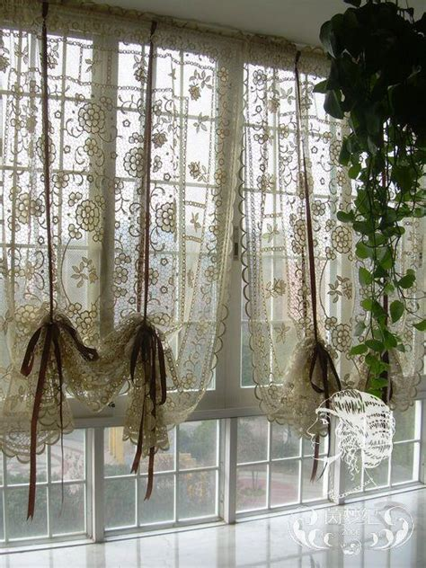 country crochet lace balloon shade sheer cafe kitchen curtain 012 ebay