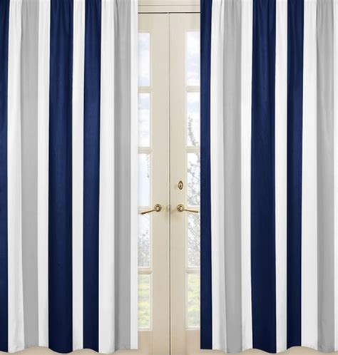 Navy Striped Curtain Panels by Window Treatment Panels For Navy Blue And Gray Stripe