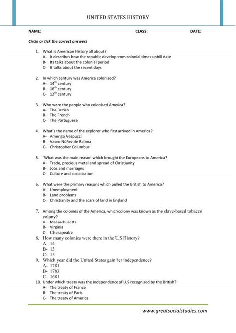 History Of United States, History Worksheets, United States History Facts  Great Social Studies