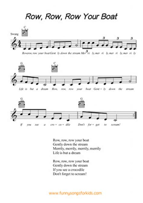 Boat Song Funny row row row your boat free sheet music from funny songs