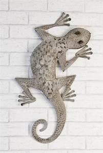Metall Sonne Für Hauswand : wandh nger gecko wanddeko aus metall grau salamander ~ Markanthonyermac.com Haus und Dekorationen