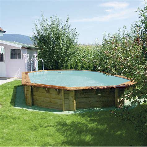 piscine hors sol bois odyssea l 8 4 x l 4 86 x h 1 46 m leroy merlin