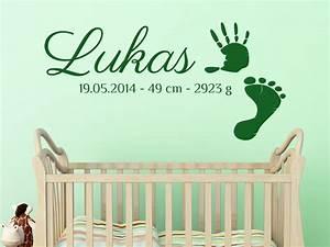 Wandtattoo Baby Mädchen : baby wandtattoo handabdruck mit wunschname von ~ Markanthonyermac.com Haus und Dekorationen