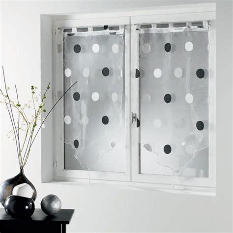 paire de voilage h90 cm jacquard ronds gris noir voilage vitrage eminza