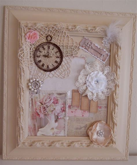 handmade shabby chic frame collage cottage chic mixed media wall