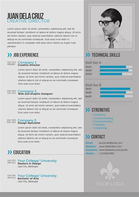free modern and simple resume cv psd template thetotobox