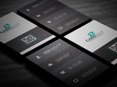 Free Clean Vertical Business Card Template By Mengloong On