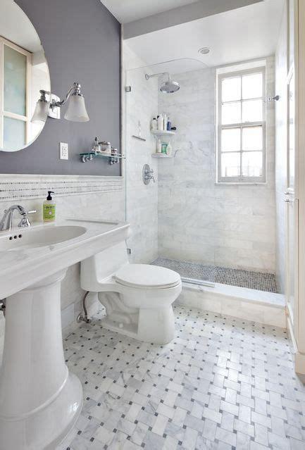 marbled tile glass door showe gray bathroom i like the top half bottom half different colors
