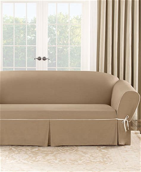 sure fit cotton canvas one t cushion sofa slipcover slipcovers for the home macy s