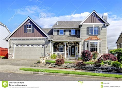 Beautiful Grey New Classic Home Exterior With Natural